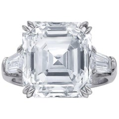 GIA Certified 3.65 Carat Asscher Cut Diamond Platinum Ring
