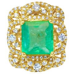 GIA Certified 4.50 Carat Colombian Emerald and Diamond Cocktail Ring