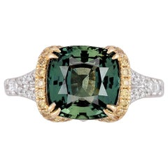 GIA Certified 4.50 Carat Cushion Cut Forest Green Sapphire and Diamond Ring