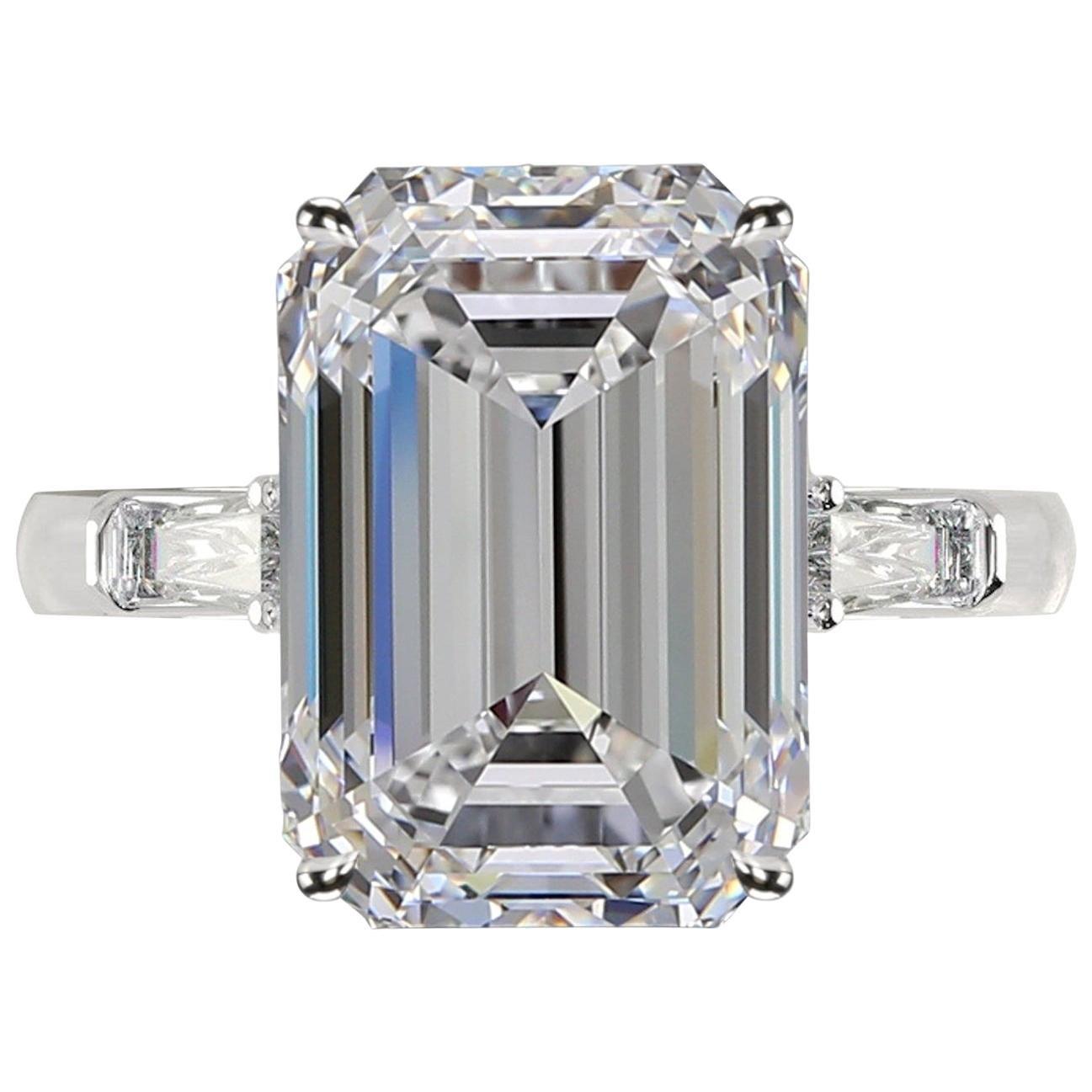 GIA Certified 3.50 Carat Emerald Cut Diamond Ring H VS1 Excellent Cut