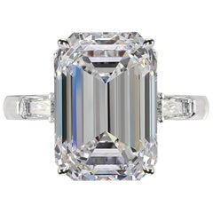 GIA Certified 3.50 Carat Emerald Cut Diamond Ring H VS1 Excellent Cut