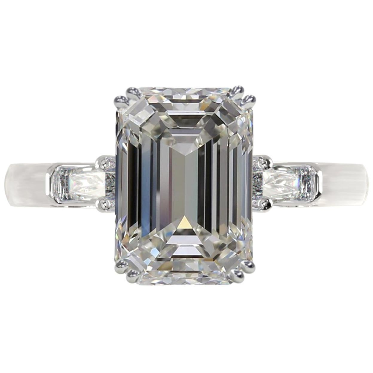GIA Certified 4 Carat Emerald Cut Diamond Ring VVS1 Clarity G Color