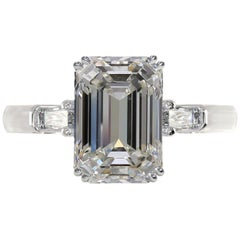 GIA Certified 4.50 Carat Emerald Cut Diamond Ring VVS1 Clarity G Color