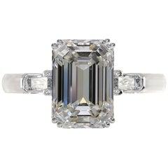 GIA Certified 4.50 Carat Emerald Cut Diamond Ring VS1 Clarity F Color