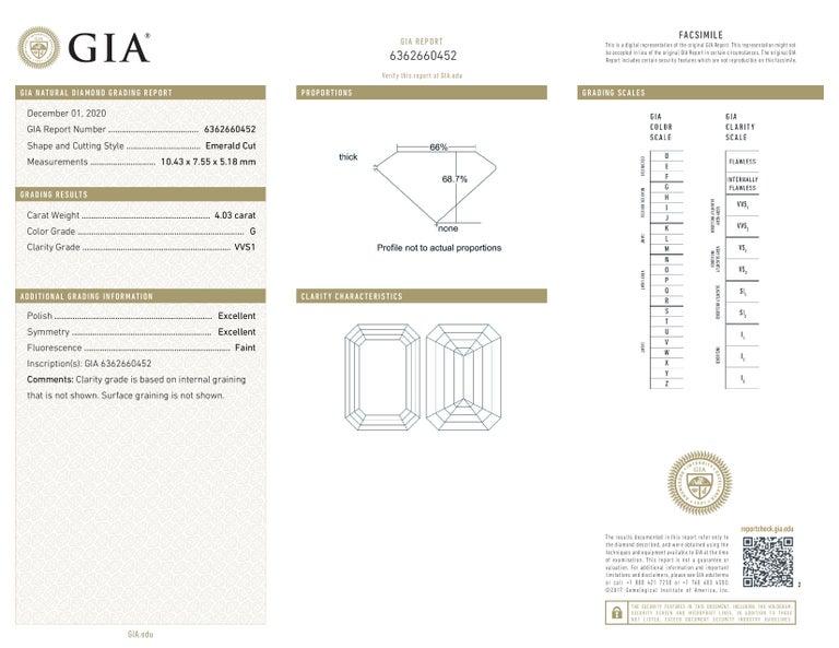 Modern GIA Certified 4.50 Carat Emerald Cut Diamond Ring VVS1 G Color For Sale