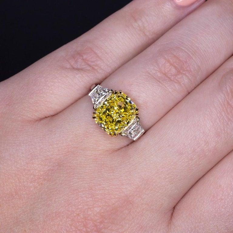 Cushion Cut GIA Certified 4.50 Carat Fancy Vivid Yellow Cushion Diamond Platinum Ring For Sale