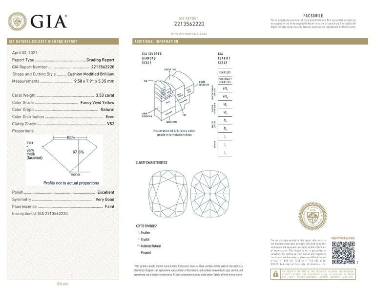 Women's or Men's GIA Certified 4.50 Carat Fancy Vivid Yellow Cushion Diamond Platinum Ring For Sale