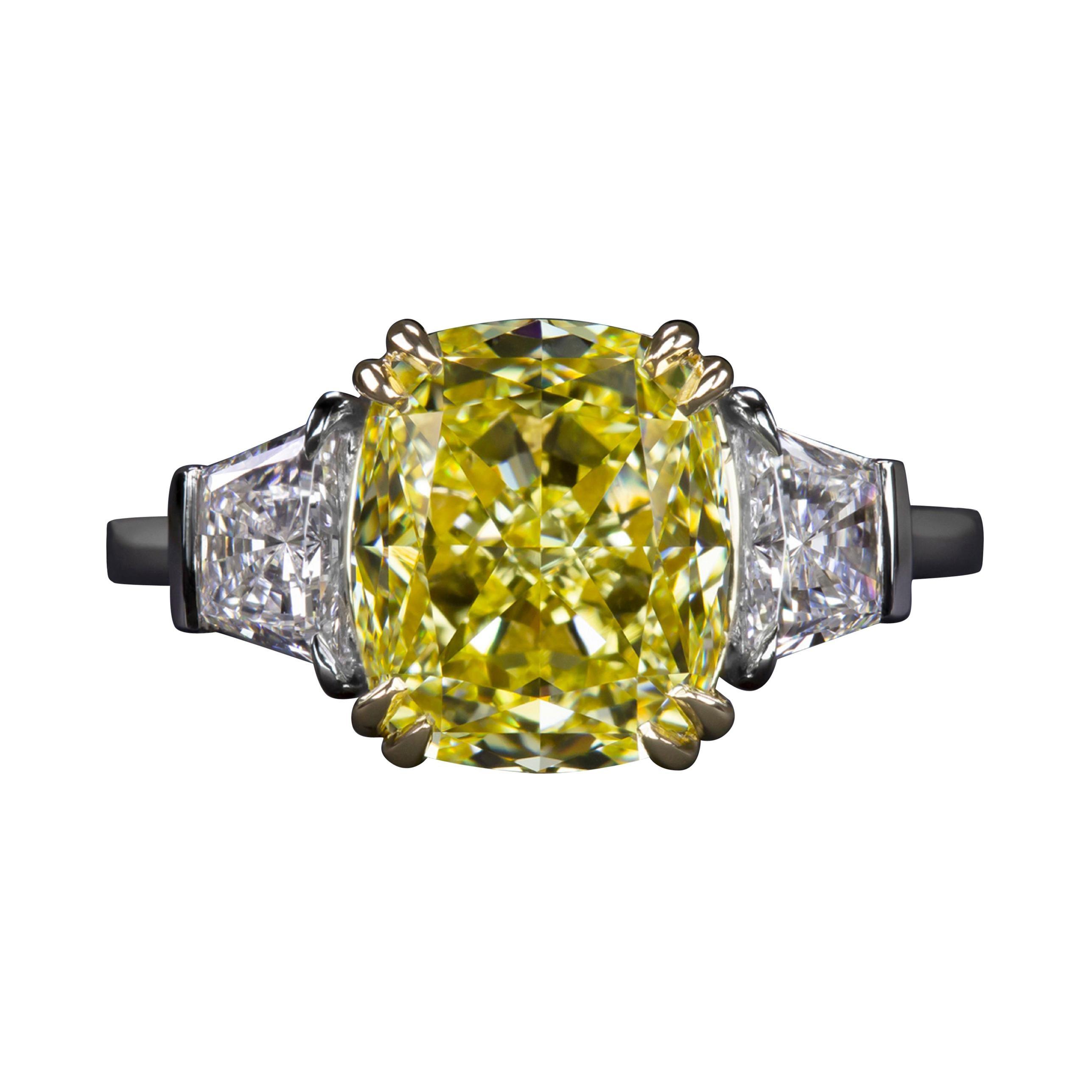 GIA Certified 3.50 Carat Fancy Vivid Yellow Cushion Diamond Platinum Ring