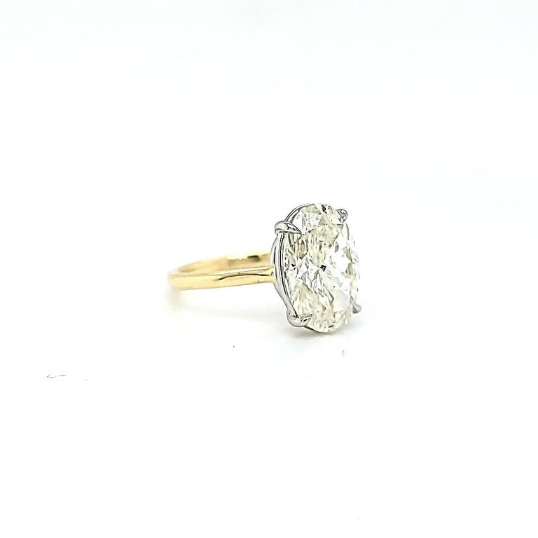 Oval Cut GIA Certified 4.50 Carat Oval Diamond Solitaire Ring For Sale