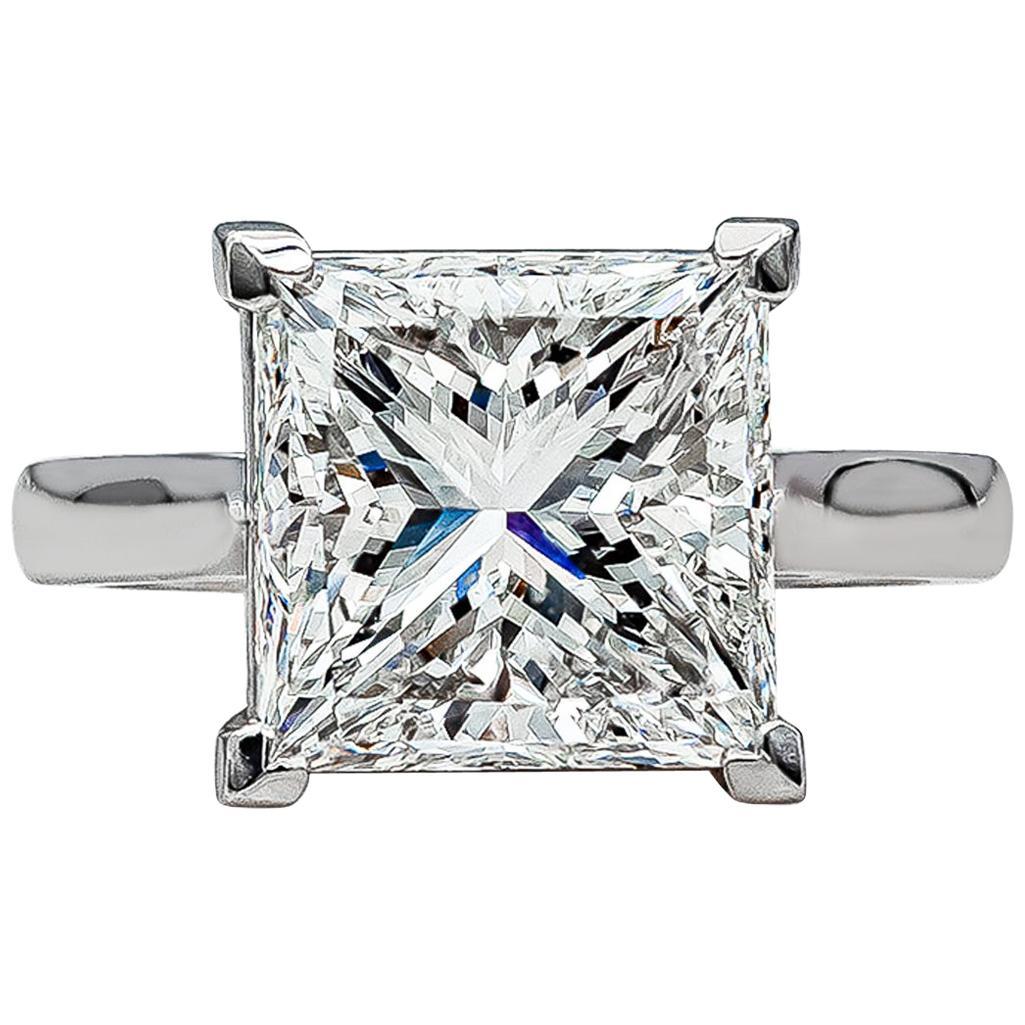 GIA Certified 4.50 Carat Princess Cut Diamond Platinum Engagement Ring