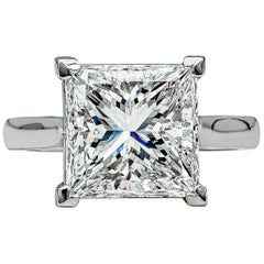 GIA Certified 4.50 Carat Princess Cut Diamond Platinum Engagement Ring