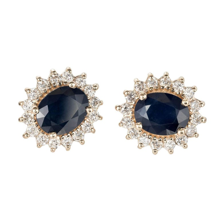 GIA Certified 4.50 Oval Sapphire Diamond Halo Gold Stud Earrings