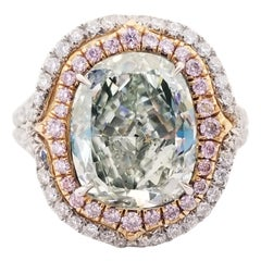 GIA Certified 4.51 Carat Fancy Yellowish Green Cushion Cut Diamond Ring