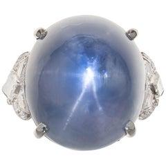 GIA Certified 45.18 Carat Star Sapphire Diamond Platinum Cocktail Ring