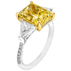GIA Certified 4.51 Carat Fancy Light Yellow Diamond Cocktail Ring