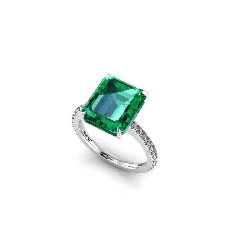 Art Deco GIA Certified 4.53 Carat Emerald Cut Emerald Diamond Platinum Ring For Sale