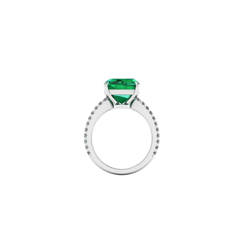 GIA Certified 4.53 Carat Emerald Cut Emerald Diamond Platinum Ring In New Condition For Sale In Lake Peekskill, NY