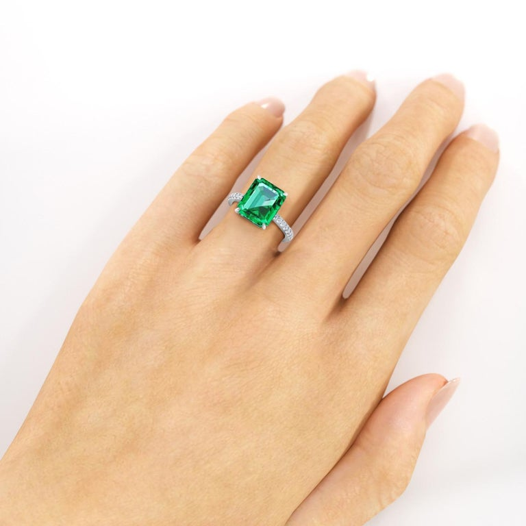 Women's GIA Certified 4.53 Carat Emerald Cut Emerald Diamond Platinum Ring For Sale