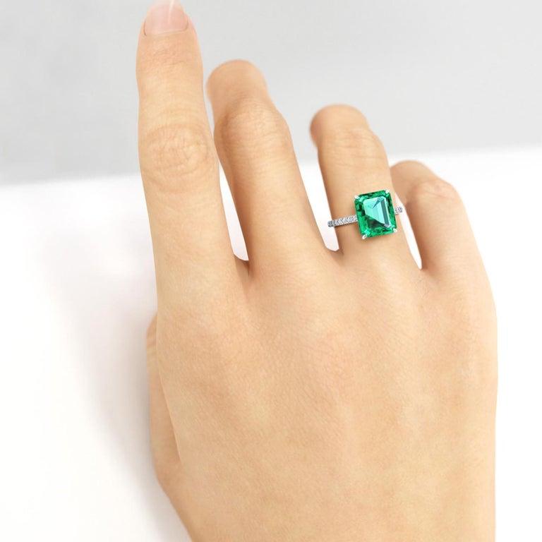 GIA Certified 4.53 Carat Emerald Cut Emerald Diamond Platinum Ring For Sale 1