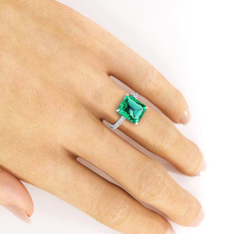 GIA Certified 4.53 Carat Emerald Cut Emerald Diamond Platinum Ring For Sale 2
