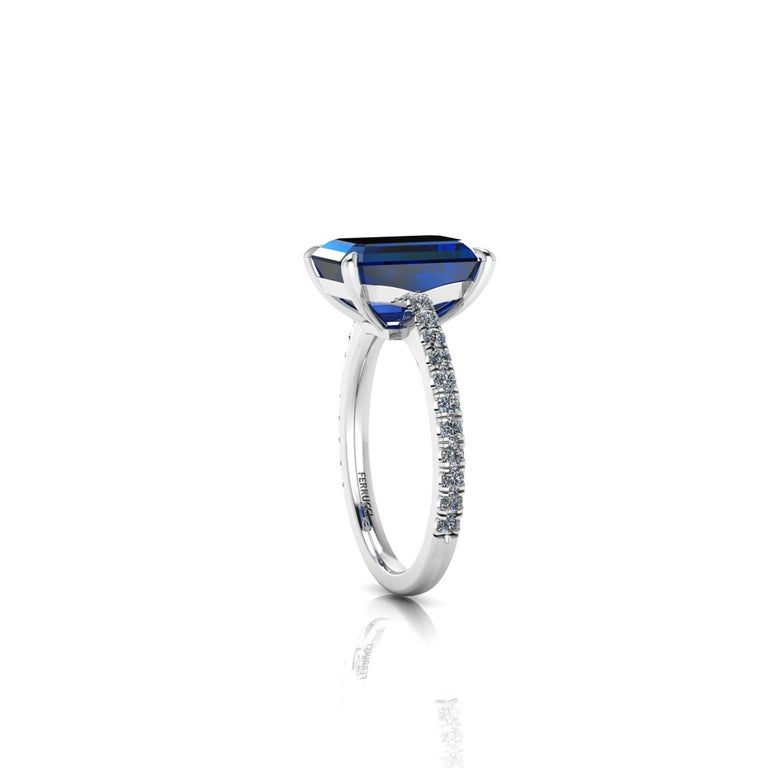 Art Deco GIA Certified 4.53 Carat Emerald Cut Sri Lanka Sapphire Diamond Platinum Ring For Sale