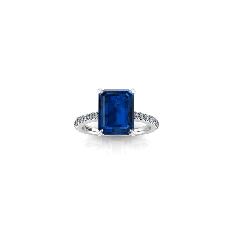 Women's GIA Certified 4.53 Carat Emerald Cut Sri Lanka Sapphire Diamond Platinum Ring For Sale