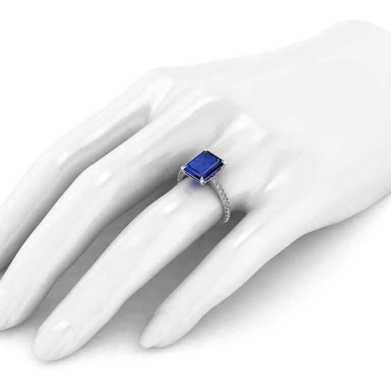 GIA Certified 4.53 Carat Emerald Cut Sri Lanka Sapphire Diamond Platinum Ring For Sale 1