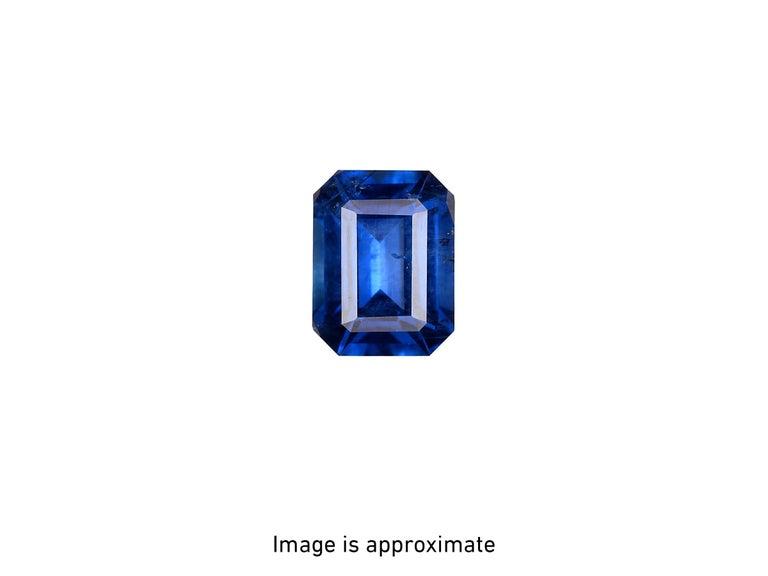 GIA Certified 4.53 Carat Emerald Cut Sri Lanka Sapphire Diamond Platinum Ring For Sale 3