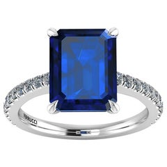 GIA Certified 4.53 Carat Emerald Cut Sri Lanka Sapphire Diamond Platinum Ring