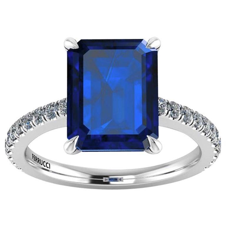 GIA Certified 4.53 Carat Emerald Cut Sri Lanka Sapphire Diamond Platinum Ring For Sale