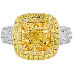 GIA Certified 4.55 Carat Fancy Yellow Ring