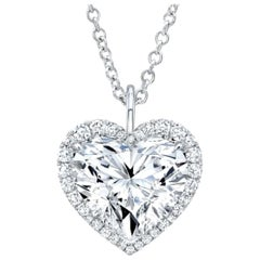 GIA Certified 4.55 Carat Heart Shape Diamond D VS Color Necklace 18 Karat