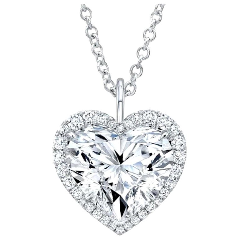 GIA Certified 4.50 Carat Heart Shape Diamond D Color VVS2 Necklace 18 Karat For Sale