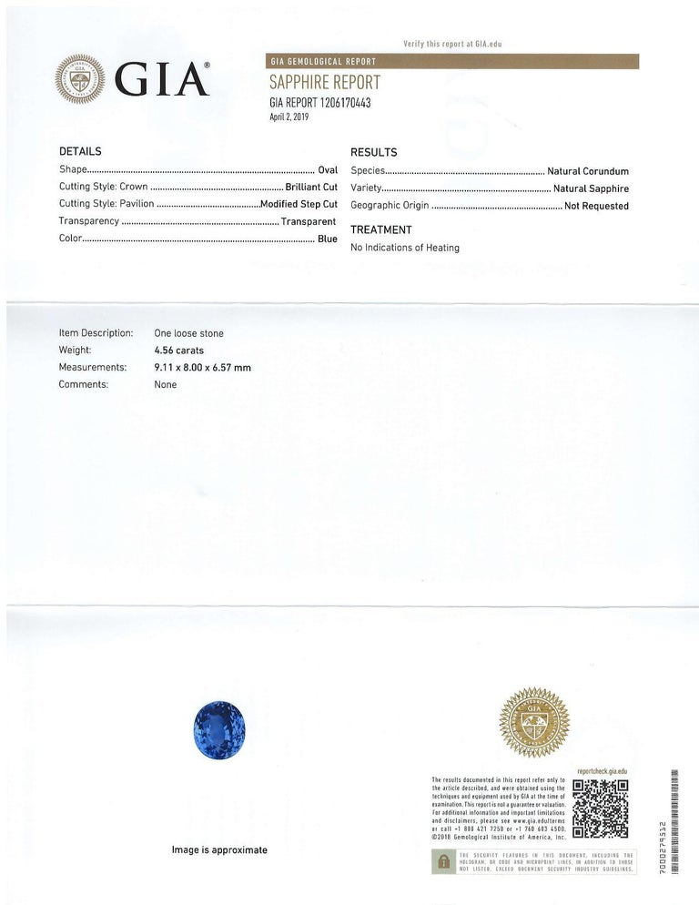 Artisan GIA Certified 4.56 Carat Unheated Oval Blue Sapphire For Sale