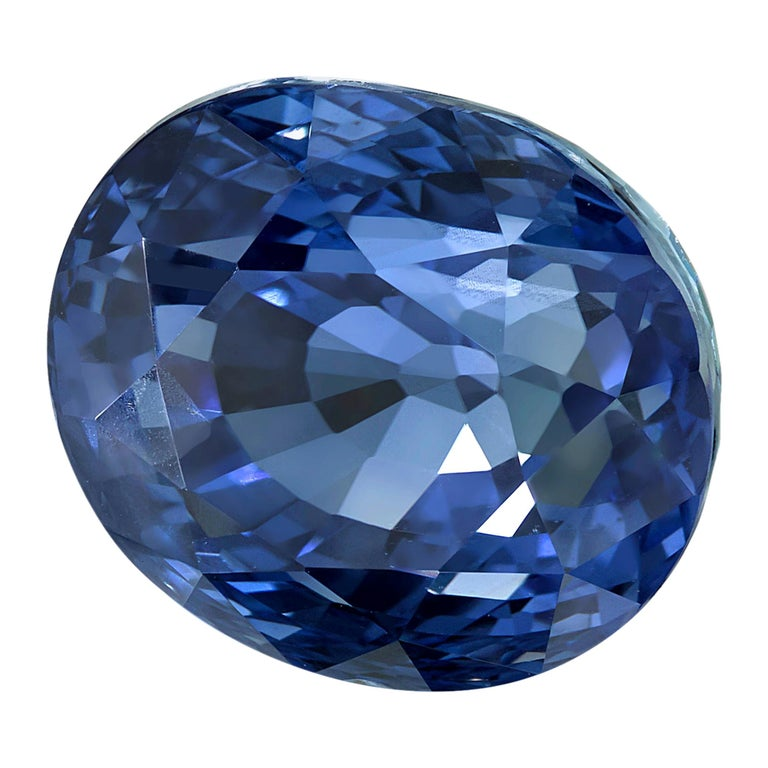 GIA Certified 4.56 Carat Unheated Oval Blue Sapphire For Sale