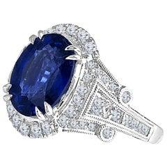 GIA Certified 4.59 Carat Fine Ceylon Sapphire Ring