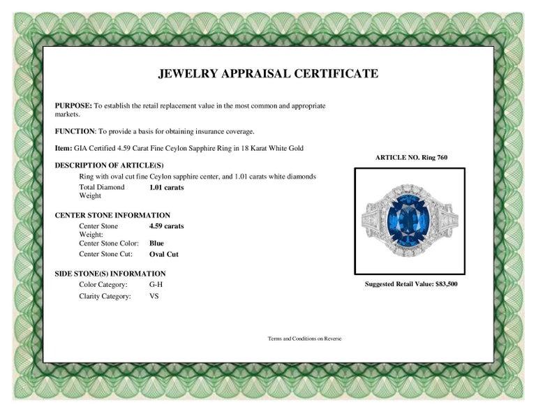 Women's GIA Certified 4.59 Carat Fine Ceylon Sapphire Ring For Sale