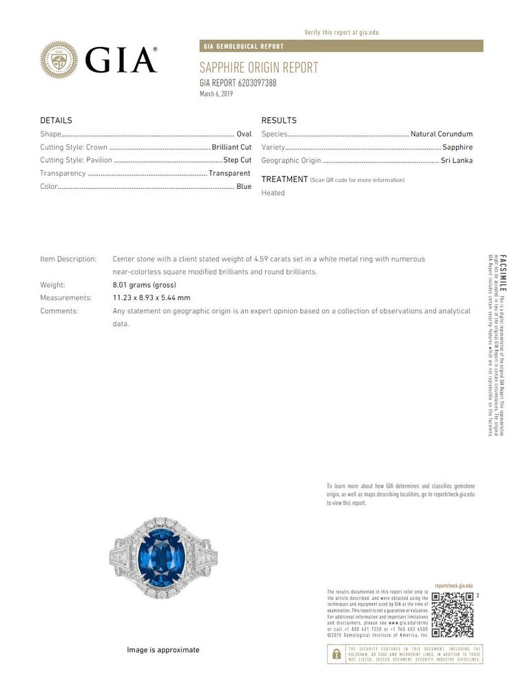 GIA Certified 4.59 Carat Fine Ceylon Sapphire Ring In New Condition For Sale In New York, NY