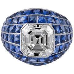 GIA Certified 4.60 Carat Diamond Sapphire Bombay Ring