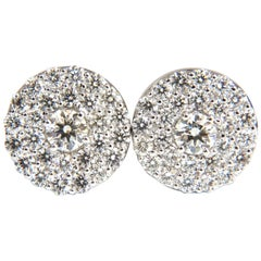 GIA Certified 4.60 Carat Matching Diamond Cluster Circular Earrings Omega