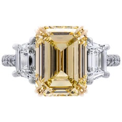 GIA Certified 4.61 Carat Emerald Cut Fancy Brownish Yellow Three-Stone Ring