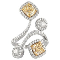 Alexander GIA Certified 4.63 Carat Diamond Ring Cocktail Ring 18k Gold