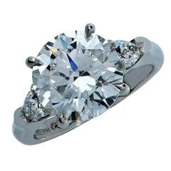 GIA Certified 4.63 Carat Diamond Three-Stone Platinum Engagement Ring