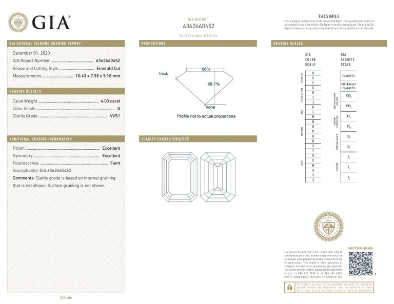 GIA Certified 4.63 Carat Emerald Cut Diamond Ring G Color VVS1 Clarity In New Condition For Sale In Rome, IT
