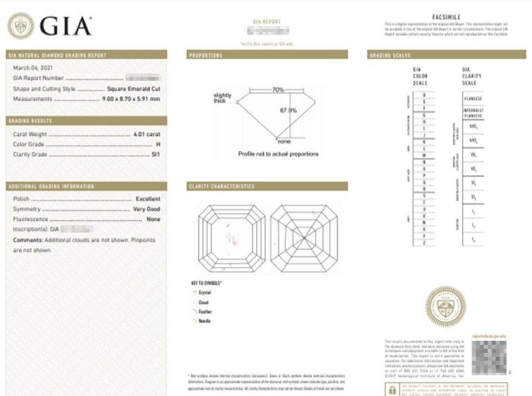Women's or Men's GIA Certified 4.65 Carat Asscher Cut Diamond Platinum Ring For Sale