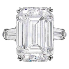 GIA Certified 3.50 Carat Emerald Cut Tapered Baguettes Diamond Ring