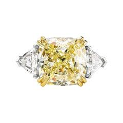 GIA Certified 4.10 Carat Fancy Light Yellow Cushion Three Stone Diamond Ring