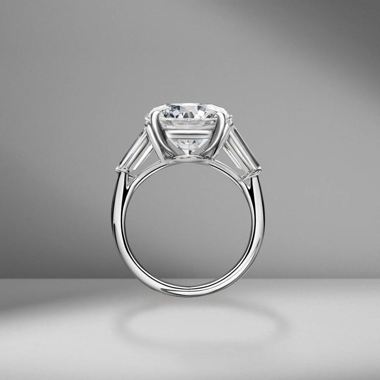 Modern GIA Certified 5.65 Carat Round Brilliant Cut Tapered Baguettes Diamond Ring  For Sale