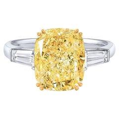 GIA Certified 4.67 Carats Fancy Yellow Diamond Tapered Baguette Platinum Ring