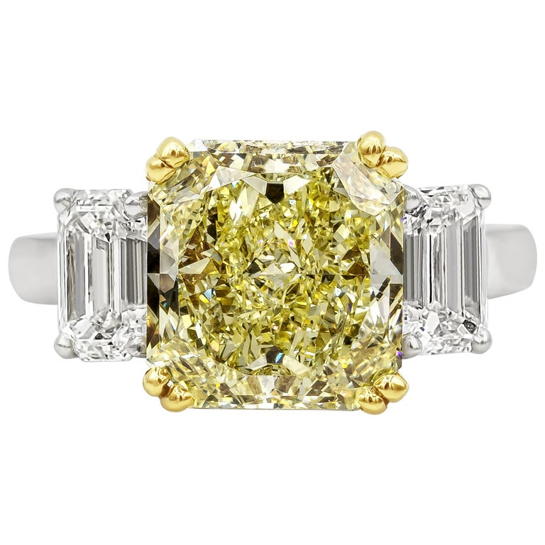 GIA Certified 4.68 Carat Intense Yellow Diamond Three-Stone Engagement Ring For Sale